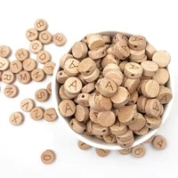10pc english 26 alphabet beads food grade material arabic numerals for diy baby teething rattle teething beads loose wood chip