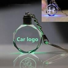 Auto KeyRing For smart saab opel abarth scania Alfa Romeo Renault Logo crystal KeyChain Badge Key Ring Emblem Key Holder Chain