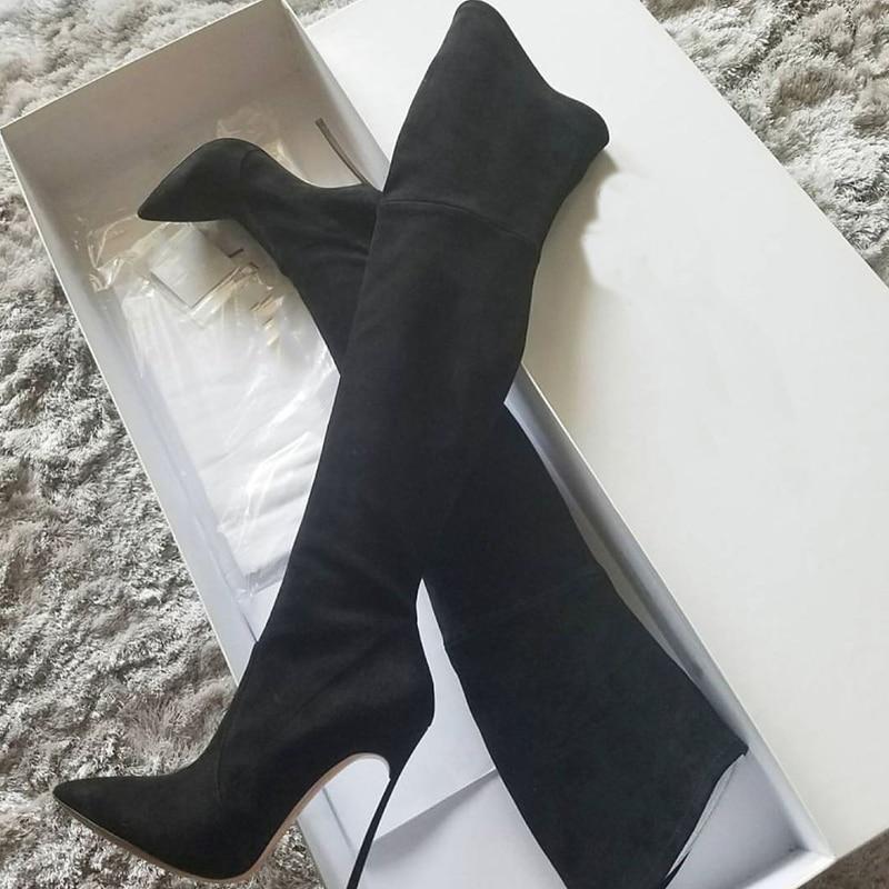 أحذية شتوية من الجلد المدبوغ بكعب عالٍ للنساء ، أحذية شتوية مثيرة ، قماش مرن ، نعل معدني