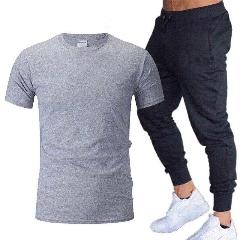 Men's Short Sleeve T-Shirt Logo Print And Casual Sports Trousers Suit 2 Piece Undershirt+Pants Cotton Fabric Light Comfortable