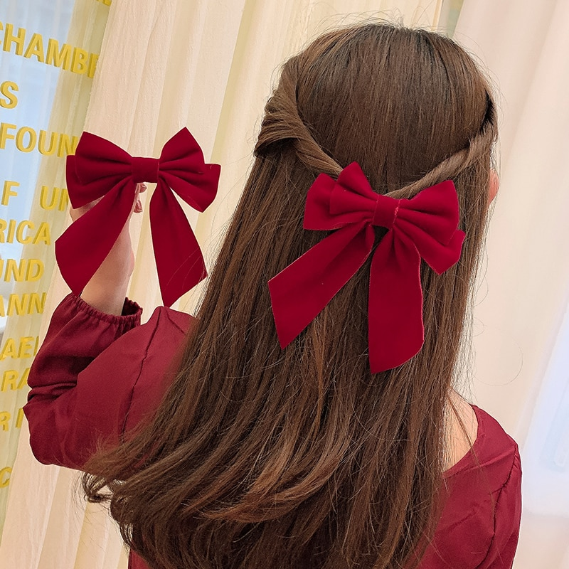 Red Big Bow Hairpin Back Head Female Online Influencer 2021new Clip Hairware 2020 Back Head Hair Acc