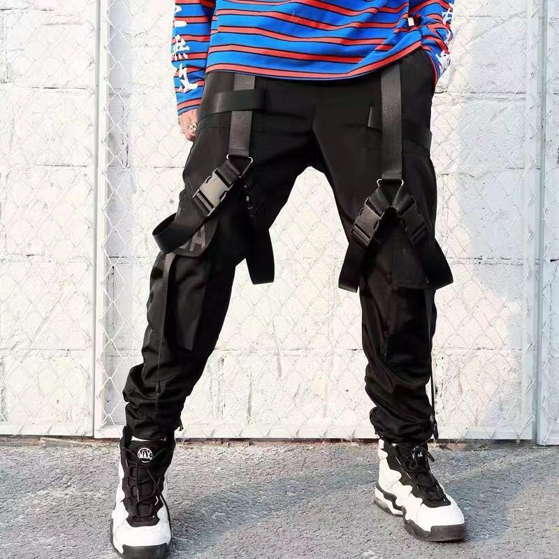 Мужские штаны-шаровары в стиле хип-хоп, повседневные штаны-шаровары с несколькими карманами и лентами, WB75
