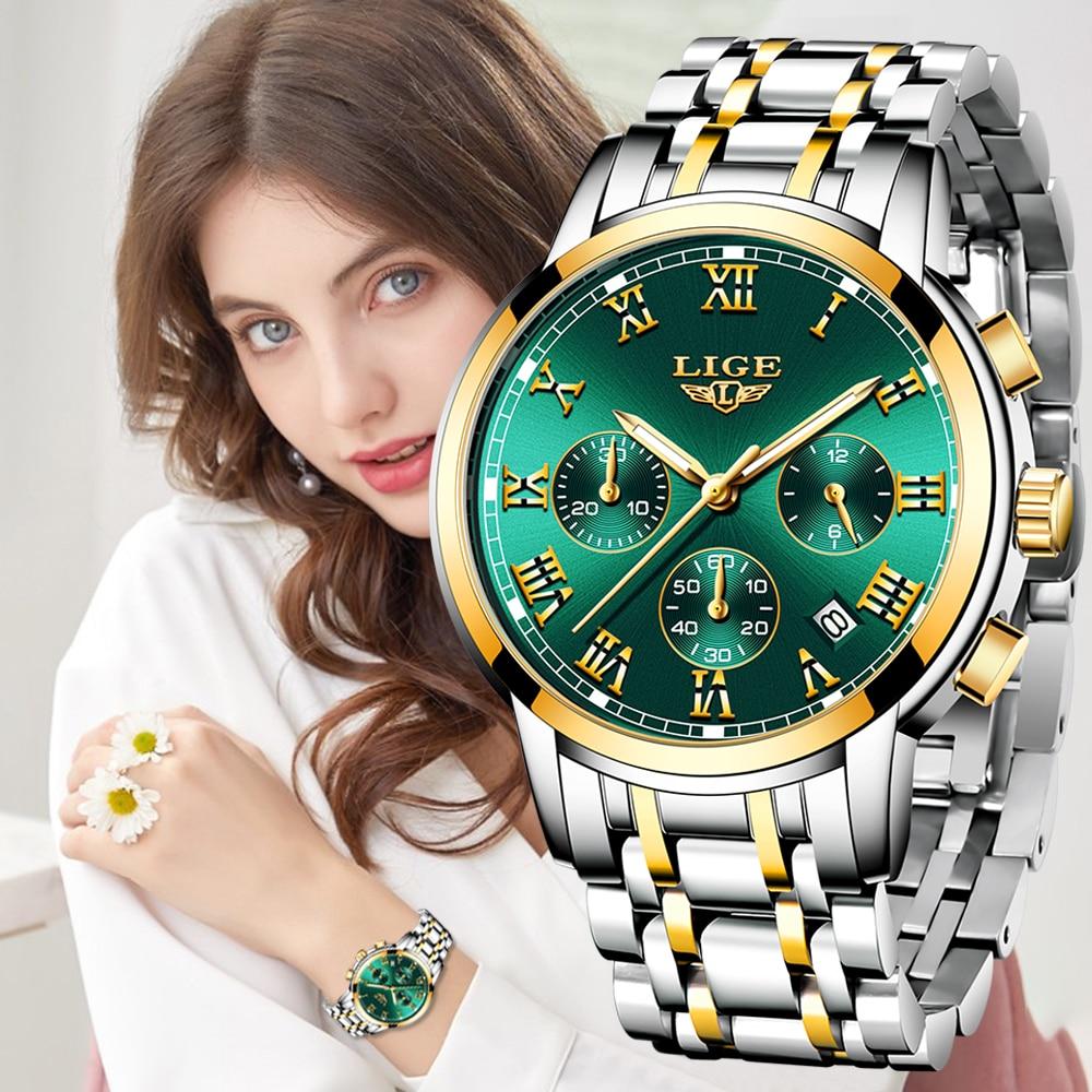 LIGE 2021New Fashion Women Watches Ladies Top Brand luxury Waterproof Quartz Clocks Watch Women Stai