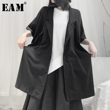[EAM] Loose Fit Black Split Big Size Long Jacket New Lapel HalfSleeve Women Coat Fashion Tide Spring Autumn 2020 19A-a665