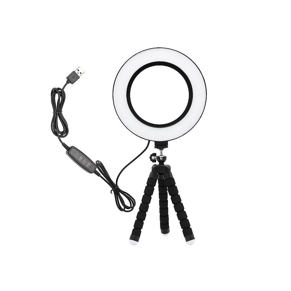 Nueva fotografía regulable LED Selfie anillo luz maquillaje foto estudio lámpara para vídeo VK Live Show con mesa de enchufe USB soporte del trípode