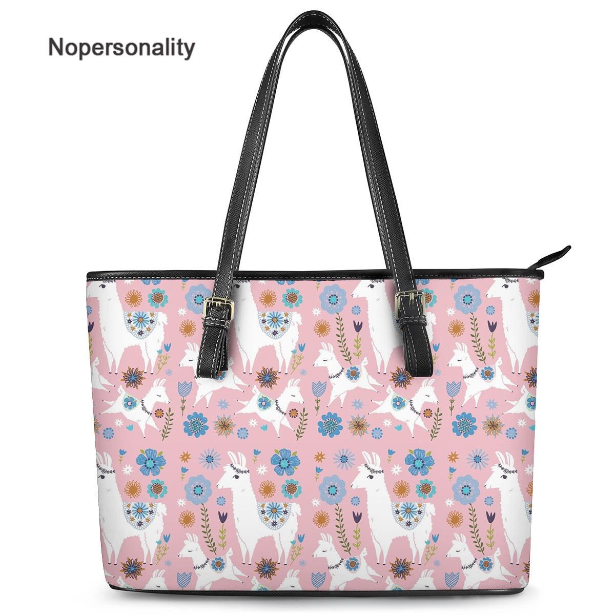 Nopersonality lindo Alpaca/Llama impreso bolsos para las mujeres de las señoras de moda de lujo bolso femenino Casual de viaje bolso de hombro chicas