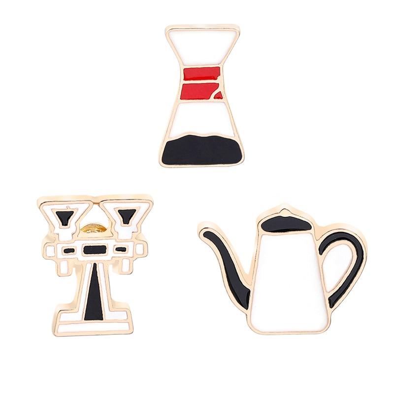 Nova Moda Criativa Esmalte Pinos Máquina De Café De Qualidade Fonte de água Potável Copo Bule Broche Botões Emblemas Acessórios Mulheres