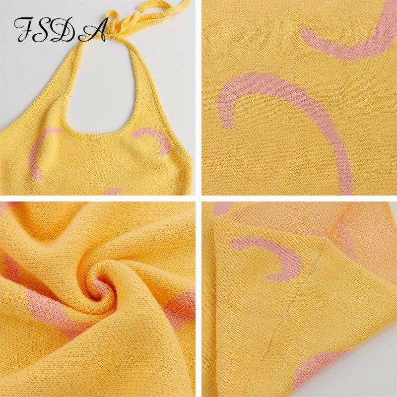 FSDA 2021 Knitted Bodycon Dress Women Halter Neck Summer Yellow Sleeveless Midi Backless Party Sexy Dresses Beach