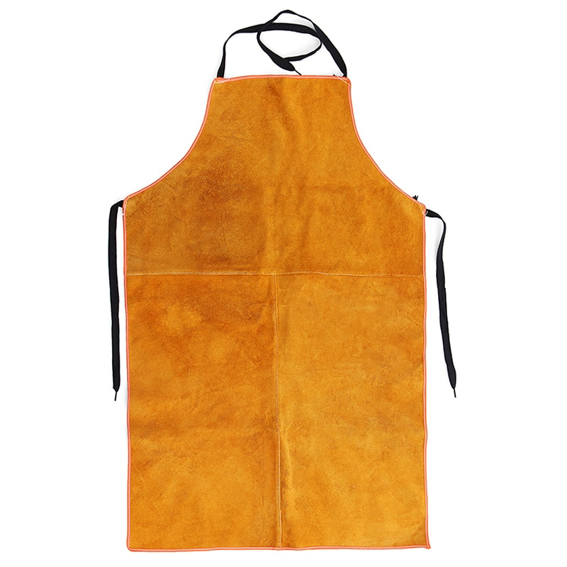 Delantal de soldadura eléctrica de cuero de vaca completo delantal de herrero amarillo ropa de seguridad de soldadura eléctrica