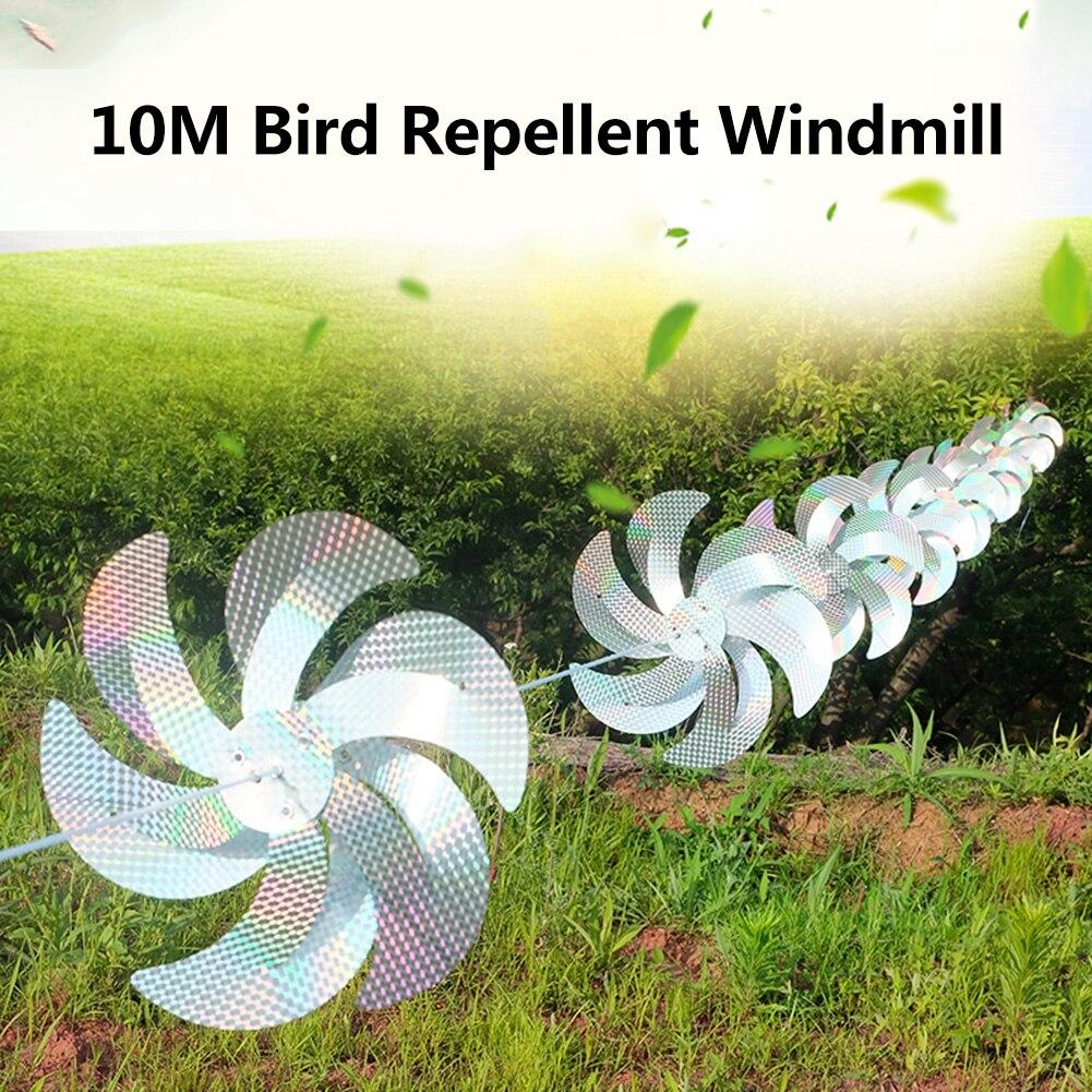 10 м ветряная мельница, уличная ветряная мельница, Репеллент для птиц, ветряная мельница, лента для украшения сада, светоотражающие приводы д...