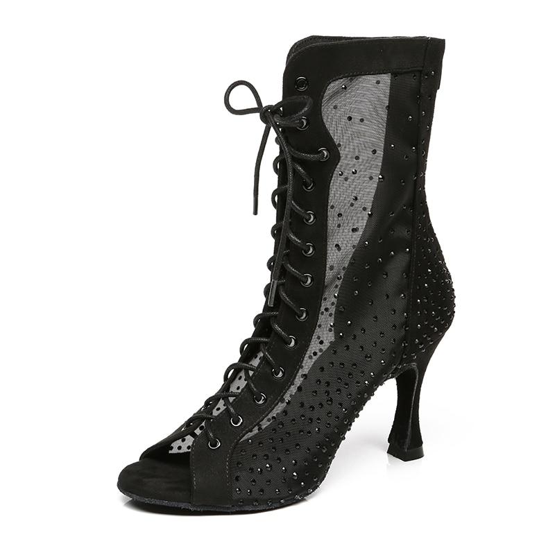 Women Black Red Lace-up Ballroom Dance Boot Girls Rhinestone Bachata Salsa Latin Dancing Shoes for Woman High Heels Booties