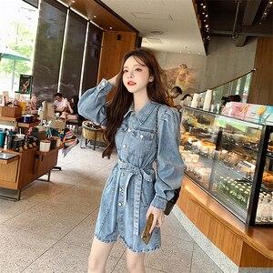Реальная съемка 2020 новые осенние туфли в стиле ретро, платье из джинсовой ткани Длинные рукава платье из джинсовой ткани с поясом