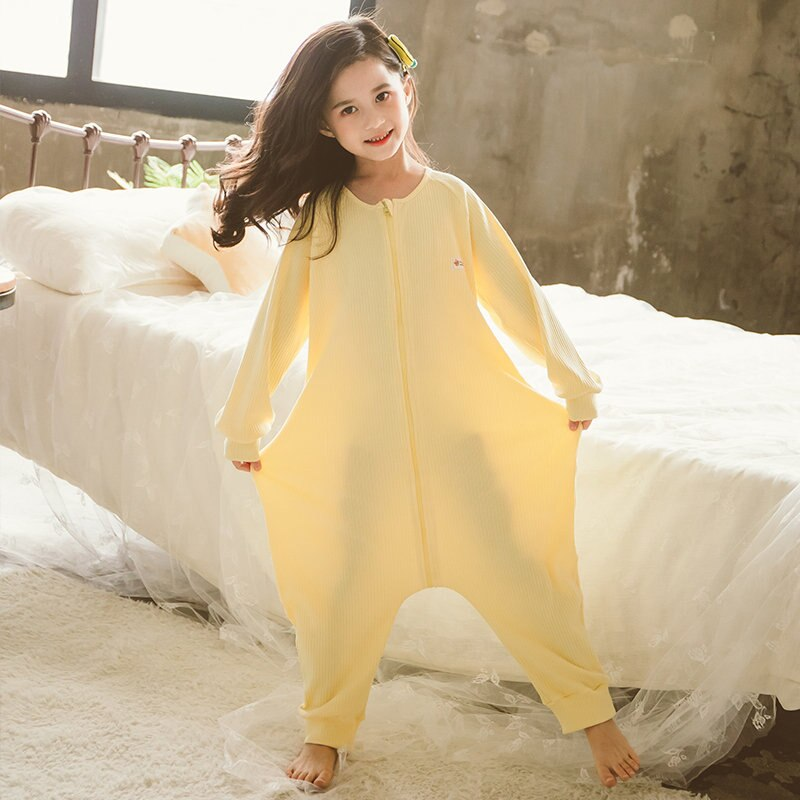 New Fancy Big Girls Jumpsuit Pajamas Zipper Front Baby Pajamas One Piece Cotton Kids Sleepwear Princess Knit Rompers for Teens