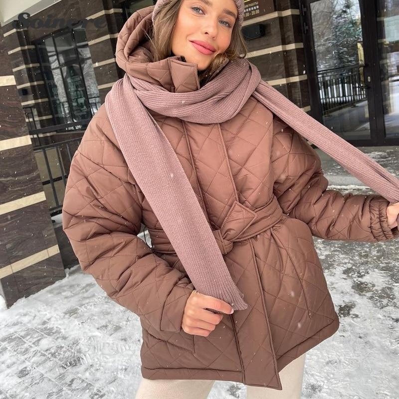 Зимние женские парки с капюшоном, модные повседневные однотонные толстые свободные короткие пальто, элегантные хлопковые теплые женские к...
