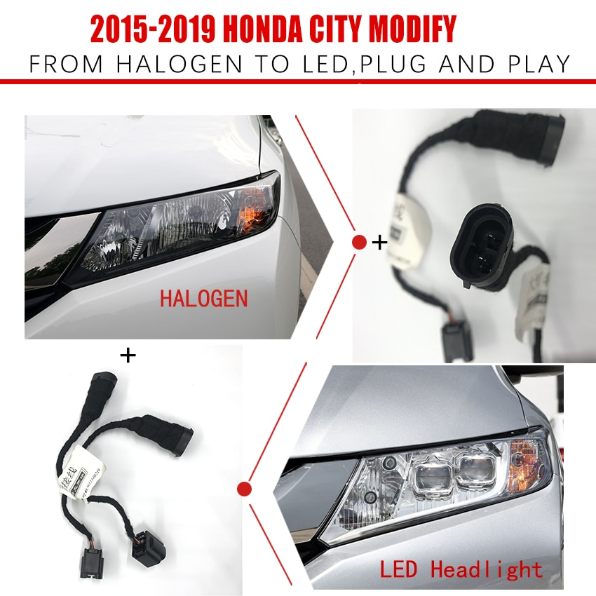 Car Headlight Modification Upgrade Transfer Wire Harness Headlamp Modify For Honda 15-19 CITY From Halogen To LED Play And Plug