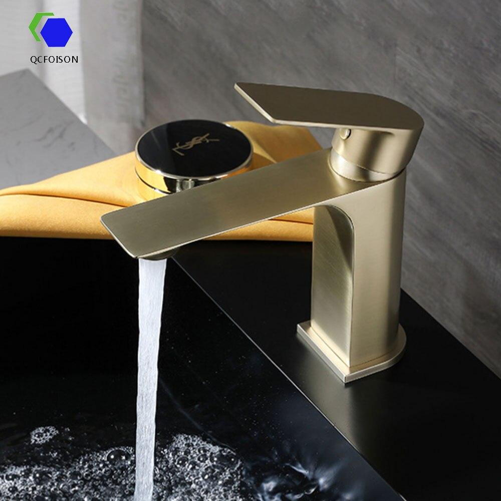 Qcfoison sanitários de saúde lavatório torneiras latão torneira da água da chuva pia do banheiro vessel prata dispositivo elétrico misturador da bacia água quente ouro