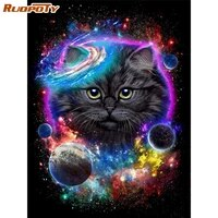 ruopoty paint by numbers for adults animals cat hand painted acrylic paint draw on canvas wall pictures for living room