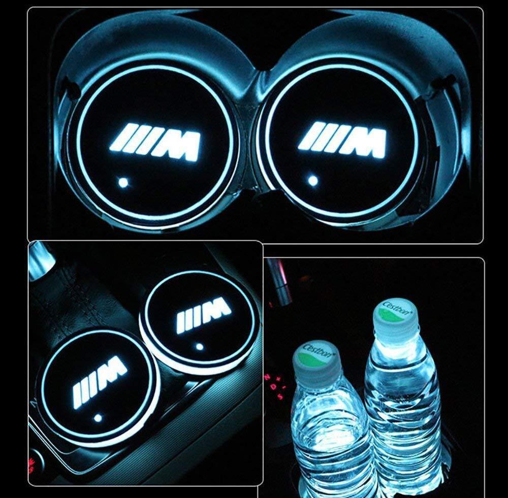 2 uds Led BMW M Logo colorido posavasos agua luz UBS coche atmósfera luz para BMW E46 E36 E34 F10 E90 F30 E60 F30 E53 E30