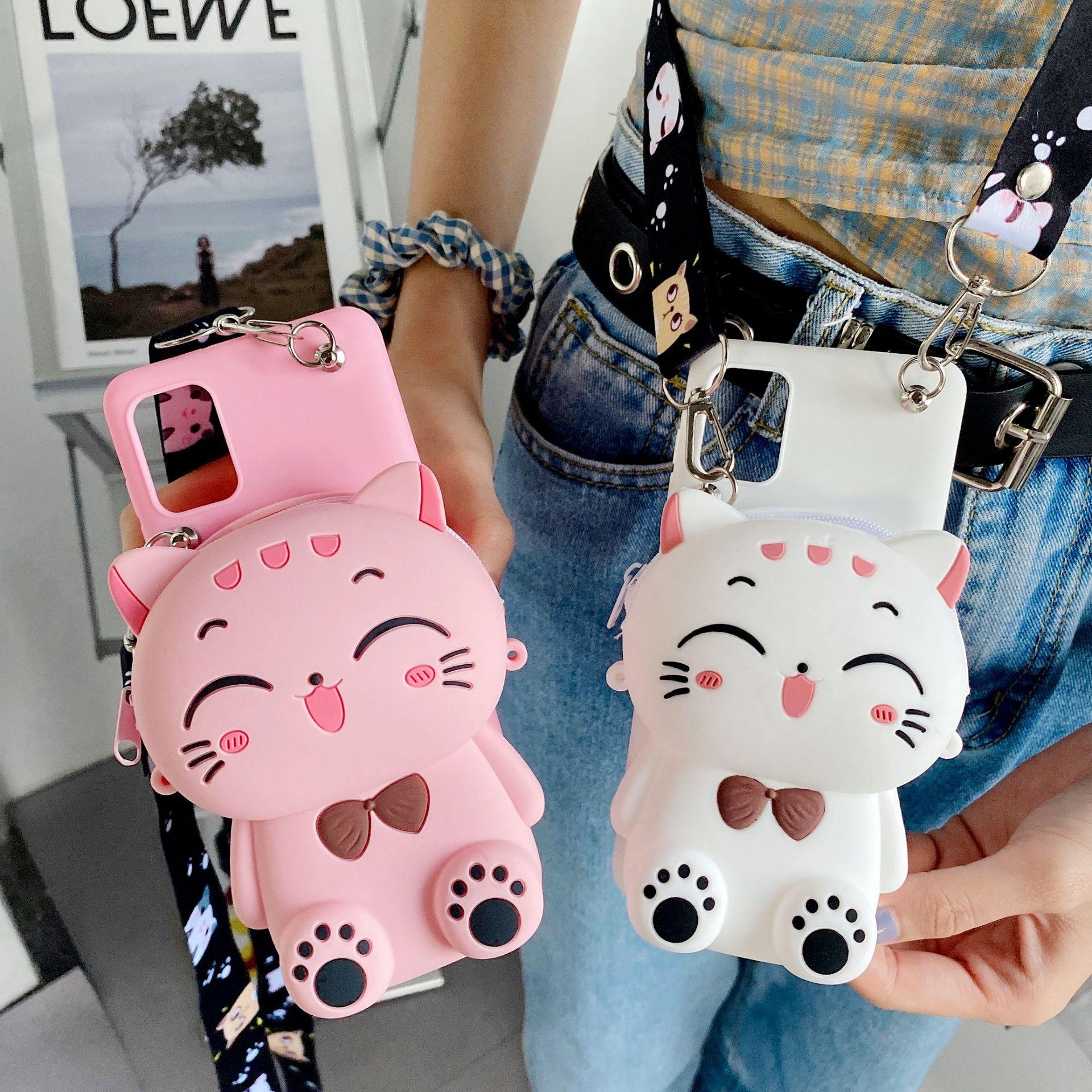 New 3D Cartoon Cat Wallet Bags Case For Xiaomi Pocophone F1 F2 F3 M2 M3 X2 X3 Redmi K20 K30 K40  Y2