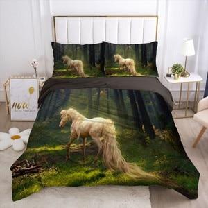 Comforter Black Bedding Sets Animal Duvet Cover Luxury Bed sheet Wild Horse Bedclothes Queen King Size Bed Linen Set For Kids Ad