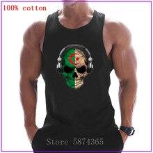 2020 divertido Deejay cráneo oscuro con Bandera de Argelia sin mangas Bodybuliding Tank Tops verano músculo de gimnasios camiseta