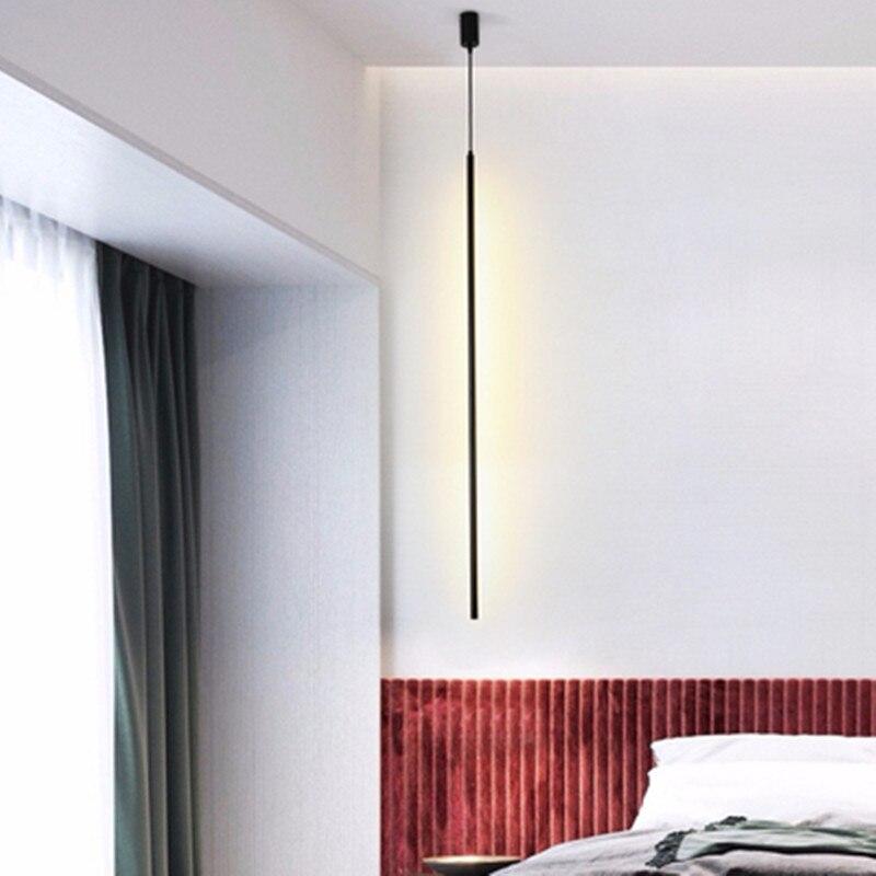 Nórdico Italia minimalista Delgado lámparas colgantes creativos sala de estar sofá esquina dormitorio mesita de noche Red línea cilíndrica iluminación