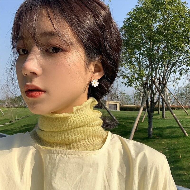 Pendientes coreanos de margaritas para mujer, pendientes pequeños sencillos, joyería de moda brincos 2020, nuevos accesorios de flores Kpop al por mayor