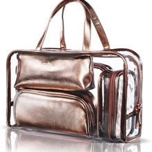 5 in 1 Cosmetic Bag & Case Portable Travel Toiletry Bag Clear PVC Makeup Quart Luggage Pouch Handbag