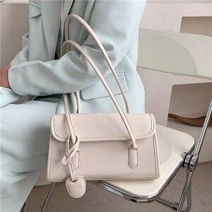 Trendy Vintage Shoulder Bags for Women 2021 Wild Flap Underarm Bag New White Pu Simple Messenger Bag Designer Tote Handbag Lady
