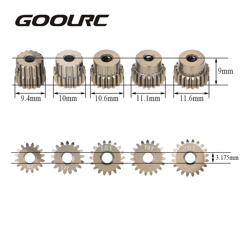 Шестерня двигателя GOOLRC 48DP 3,175 мм 16T 17T 18T 19T 20T для автомобиля 1/10 RC, бесщеточный автомобильный двигатель P