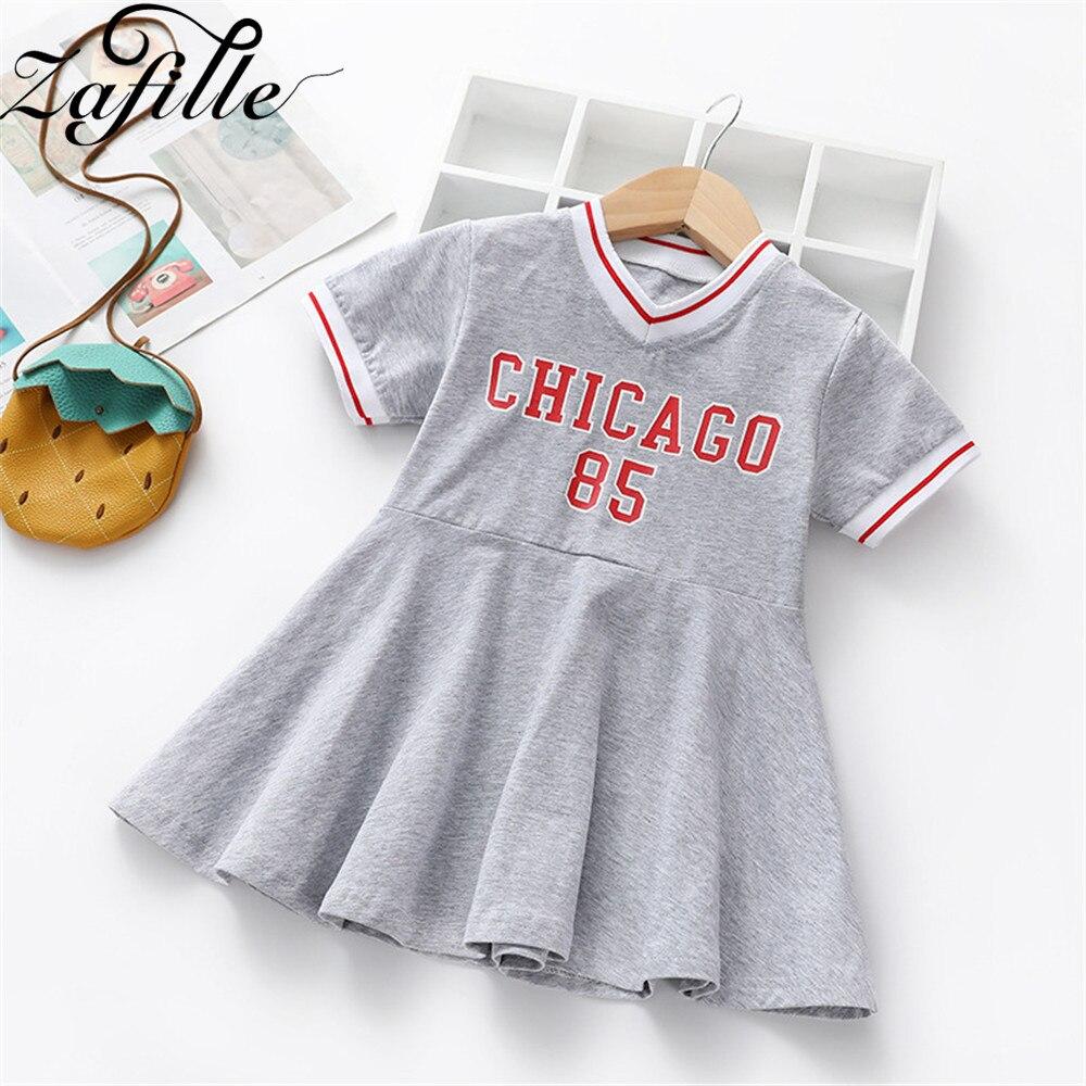 ZAFILLE, ropa para niñas, vestido de deporte de verano para niñas, Vestido de manga corta con cuello en V para niñas, vestidos de algodón para niñas pequeñas con estampado de letras