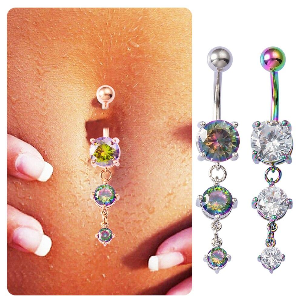 HONGTU, 1 pieza, anillo colgante de cristal con circonita para Ombligo, Piercings de acero inoxidable para Ombligo, barra de mancuernas Sexy para mujer de 14G