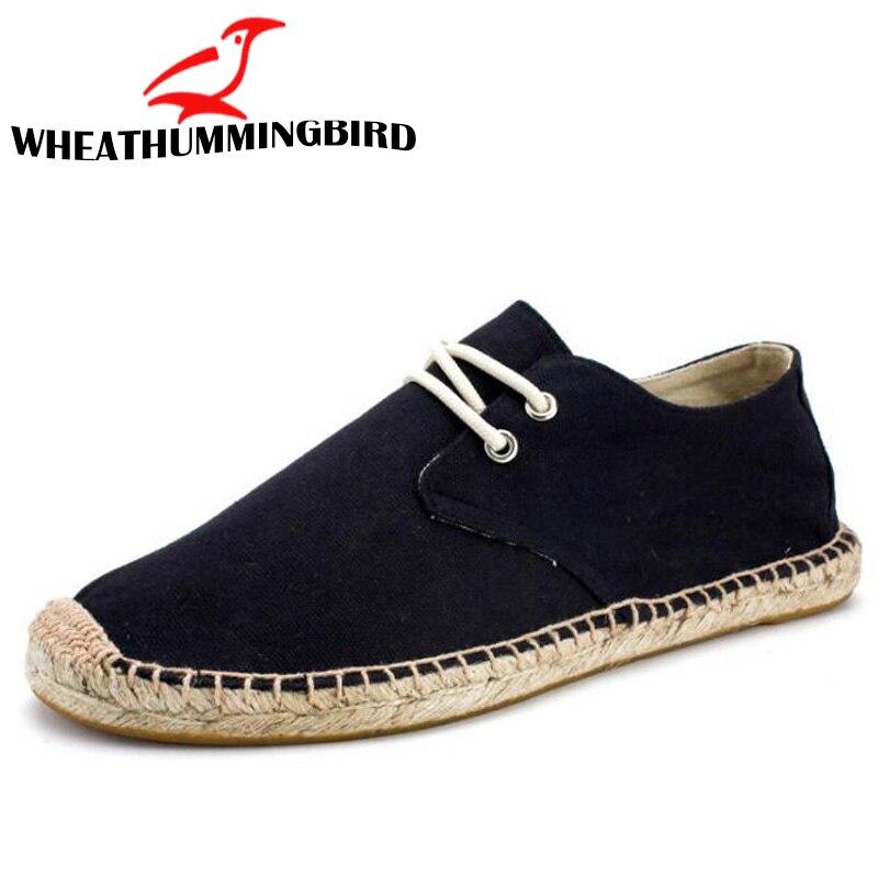 Black Linen  Hemp Wrap Mens Shoes Espadrilles Fisherman Men Canvas Shoes Breathable Men's Loafers boat driving shoes LA-29