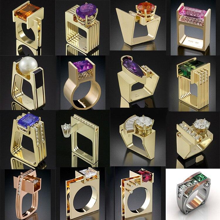 Nuevo anillo de perla de piedra blanca pequeña para mujer, anillo de boda de oro amarillo Vintage, anillo de compromiso con circón para mujer