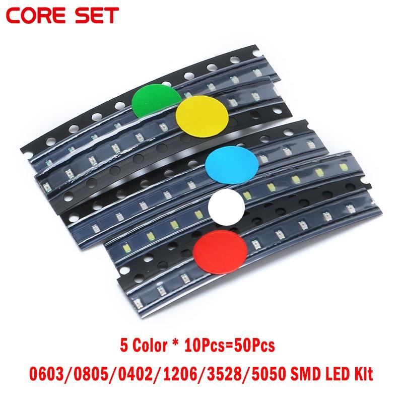 50 unids/set 0603/0805/0402/1206/kit 3528/5050 SMD LED rojo/verde/azul/blanco/amarillo SMD diodo de luz set