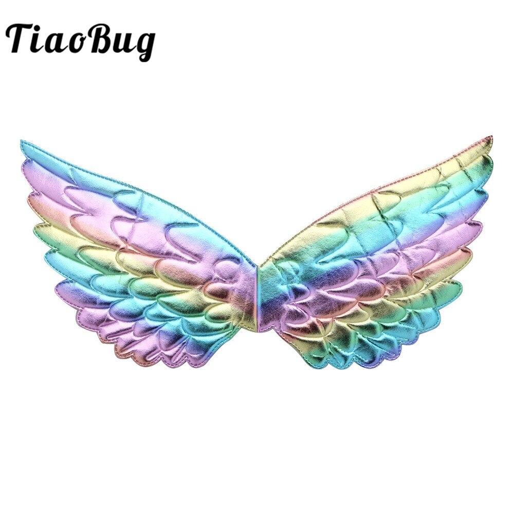 TiaoBug niños metálico brillante alas de Ángel para niñas Carnaval de Halloween Disfraces Cosplay del Partido de rendimiento traje Accesorios