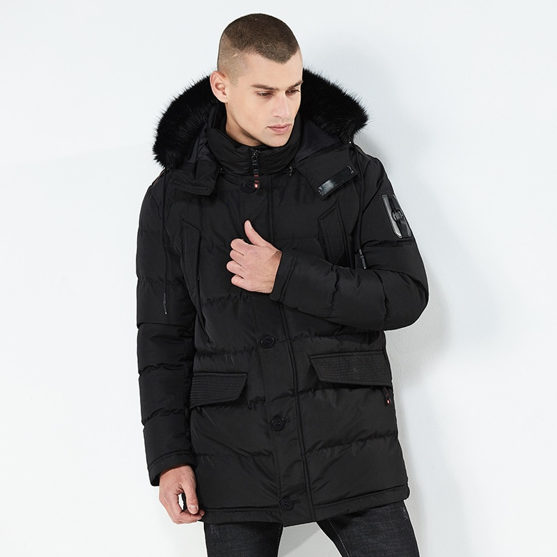 2021 winter new European and American men's mid-length cotton-padded jacket with hooded thick windproof padded jacket, warm cott