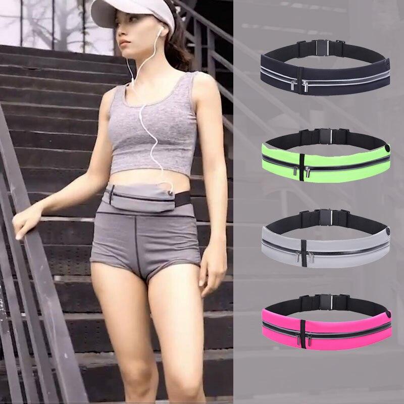 Outdoor Sports Running Belt Bags Women Men Waterproof City Jogging Waist Bag Athletic Gym Bags Phone Wallet Double Zipper Pocket