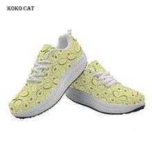 KOKO CAT Women Flats Sneakers Shoes Avocado Fruit Printing Tenis Feminino Wedge Sneakers Height Increasing Swing Shoes Ladies