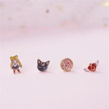Anime marin lune oreille goujon Cosplay Badge Luna aile Tsukino Usagi oreille pince mignon dessin animé filles boucle doreille costume doux cadeau
