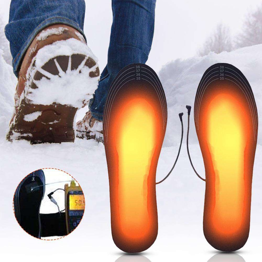2pcs USB Electric Heating Insoles Heated Foot Warmer Shoes Inserts Shoes Heated Pads Foot Outdoor Tr