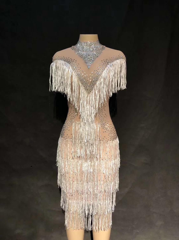 Sparkly strass branco franjas malha vestido de aniversário celebrar ver através transparente vestido líquido traje vestido de dança youdu