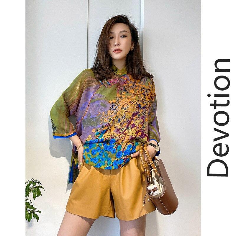 Shirt female design sense niche retro Chinese heavy silk blouse improved cheongsam Tang suit high-end temperament silk