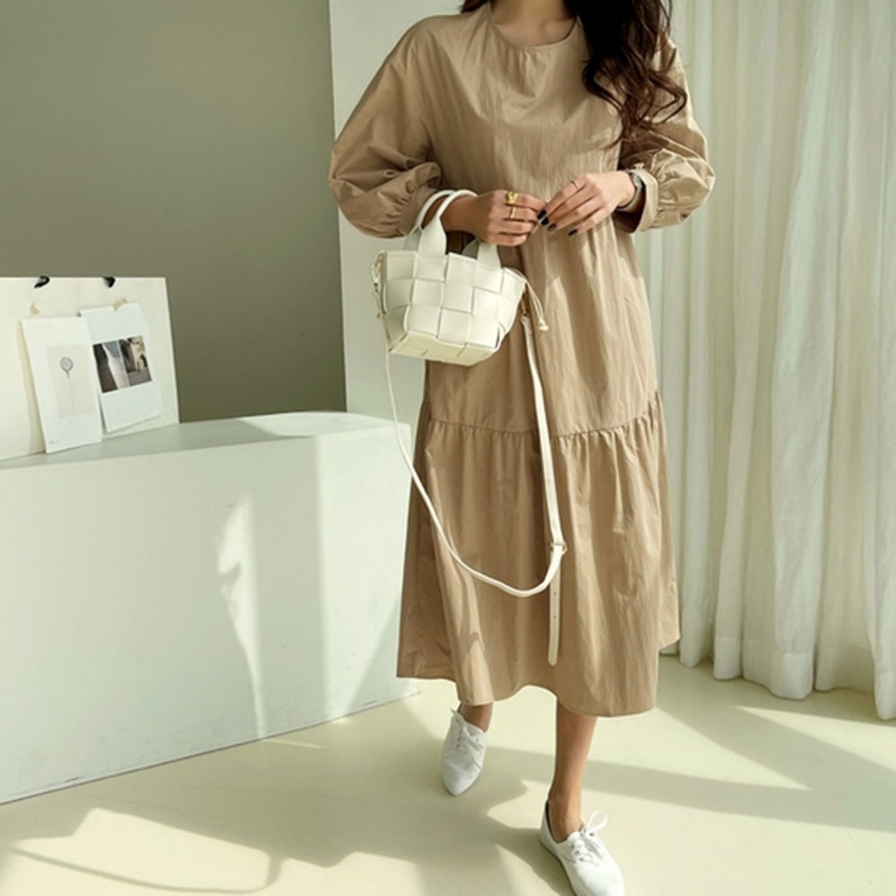Autumn Dresses For Women Casual 2021 Round Neck Solid Color Mid-length  A-line Dress Ladies Clothes