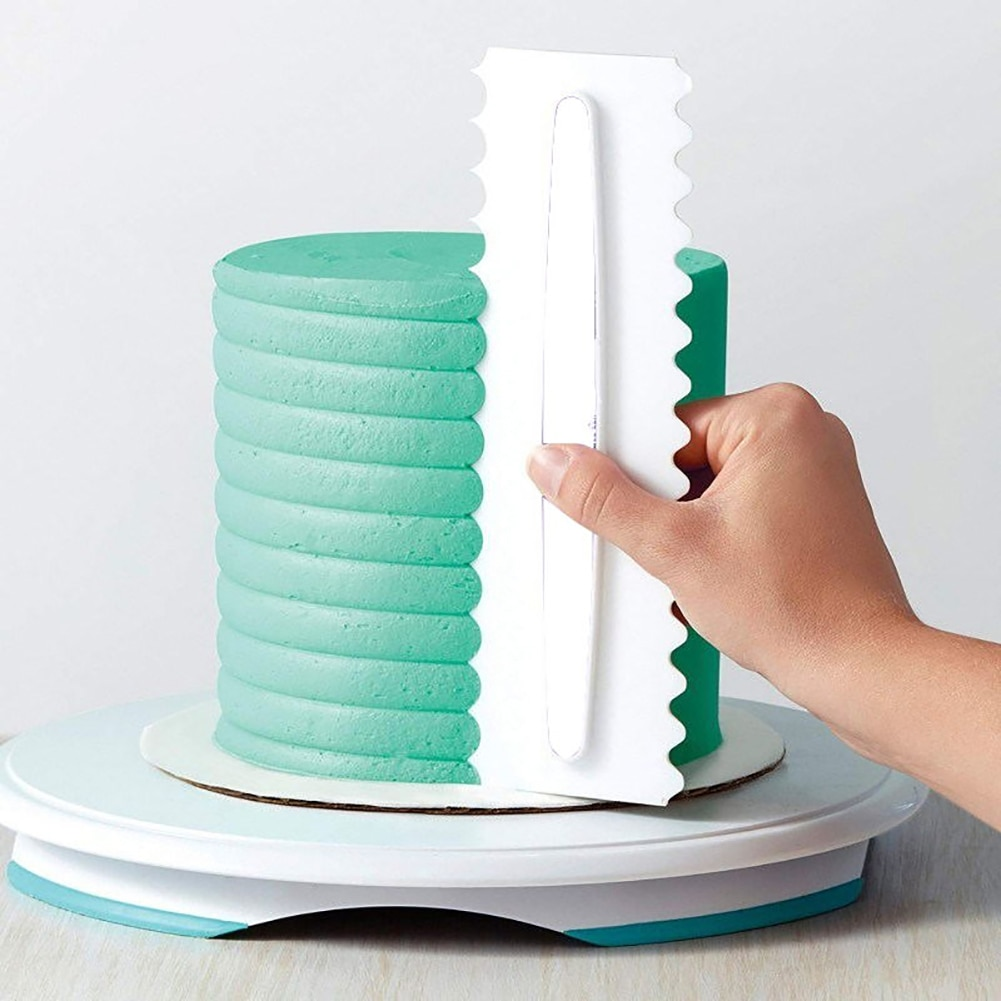 Novedoso raspador de torta para decoración de tartas, peine para glasear, raspador de torta espátula de pasteles, 6 texturas de diseño, herramientas de horneado, herramienta de tartas duradera 1 unidad