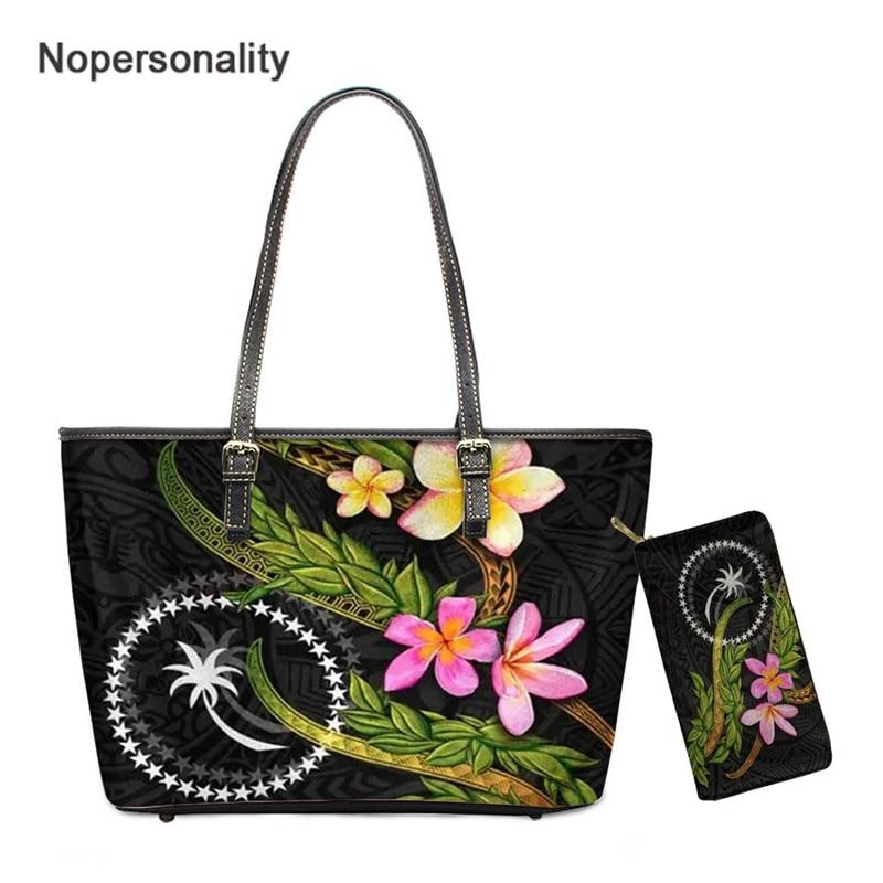 حقيبة كتف شخصية ومجموعة محفظة للنساء Chuuk بولينيزية مطبوعة حقائب يد نسائية فاخرة موضة السيدات حقيبة كروسبودي