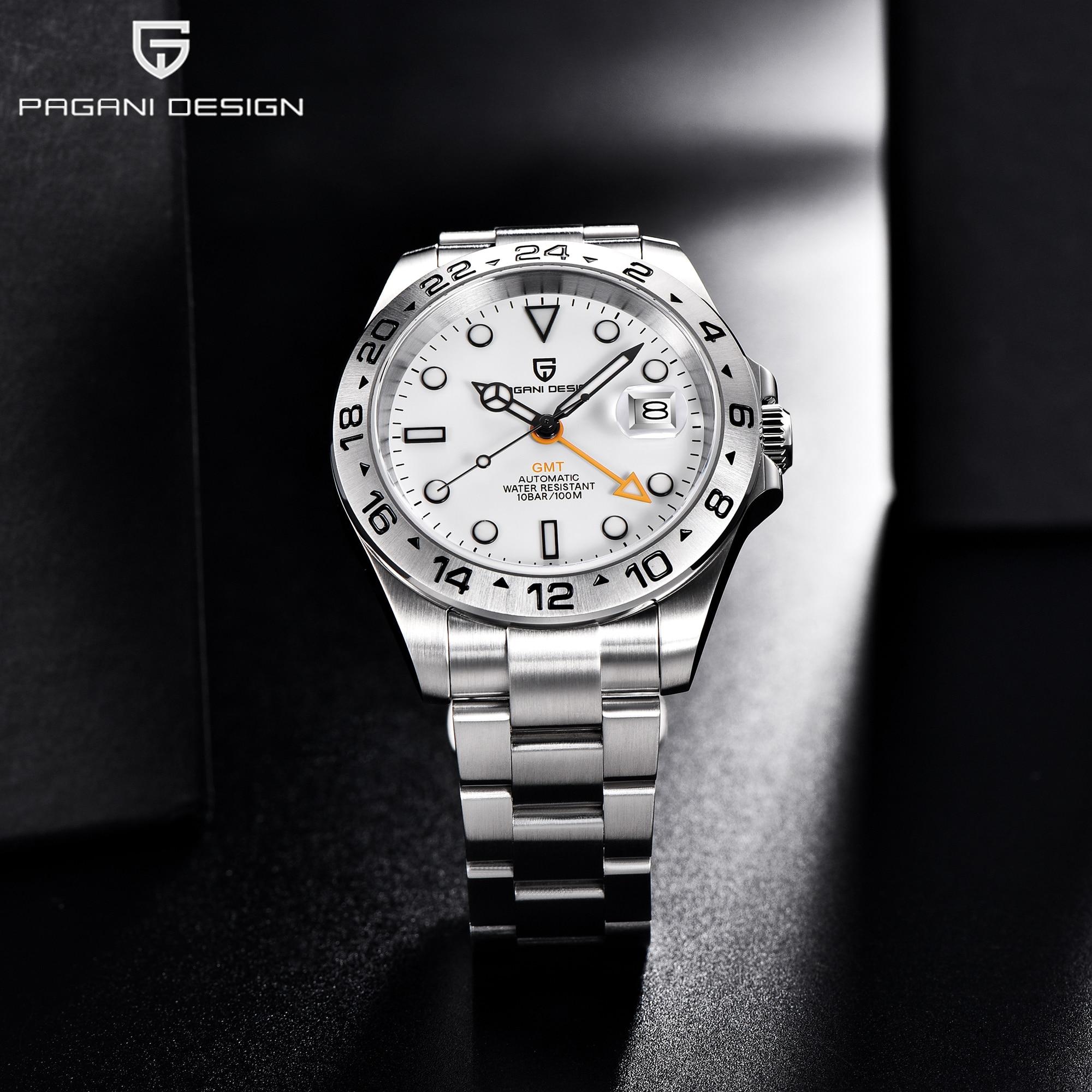 Pagani تصميم 2021 موضة جديدة بسيطة الرجال التلقائي ساعة ميكانيكية مقاوم للماء الياقوت الفولاذ المقاوم للصدأ GMT ساعة Reloj Hombre