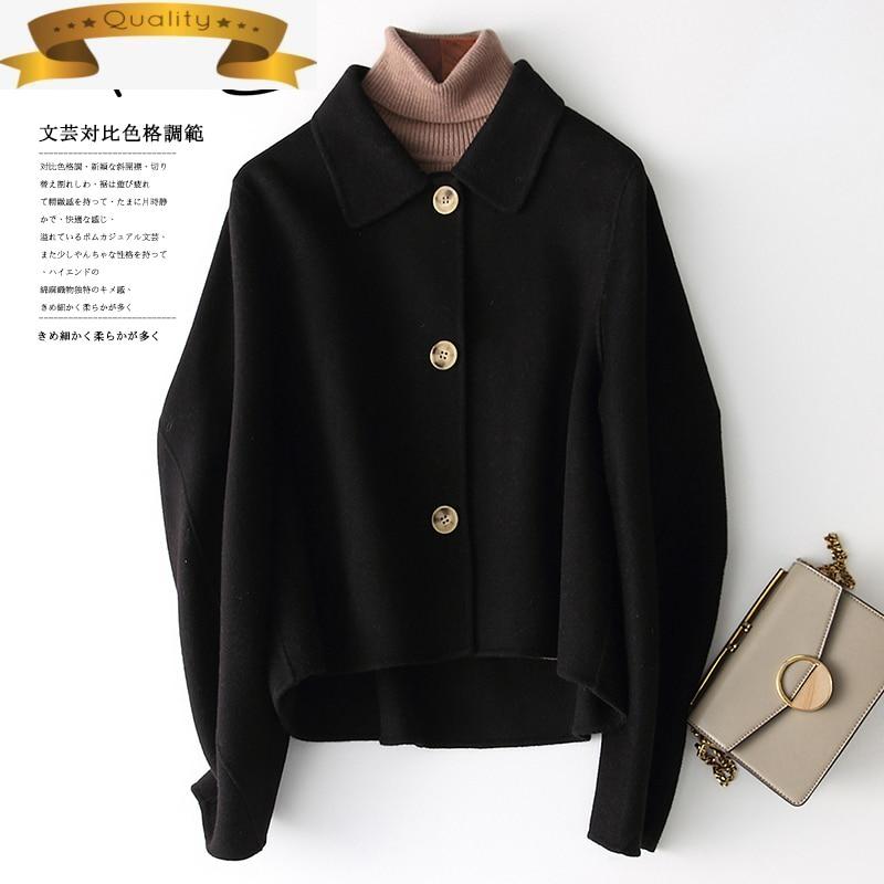 Chaqueta de lana negra para mujer, abrigo de gran tamaño coreano de...