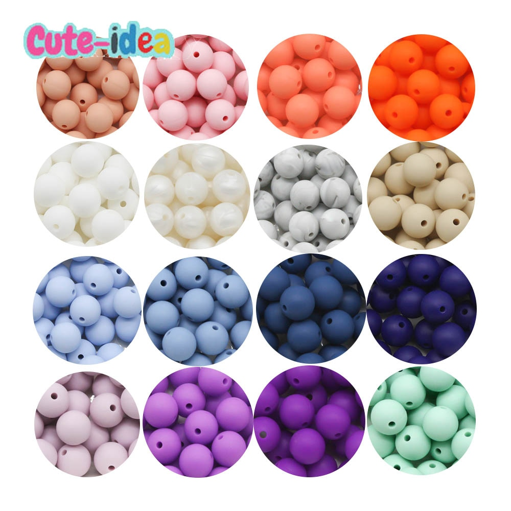 Cute-Idea 15MM 500pcs silicone Beads teether toddle safe pacifier chain baby product eco-frendlly BPA Free food Grade teething