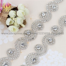 Handmade 1 Yard Iron On Crystal Beaded Sewing Bridal Sash Wedding Dresses Rhinestone Applique and Trimming